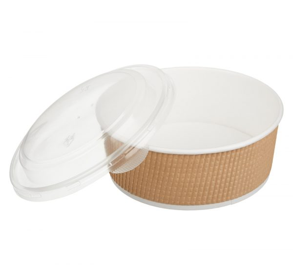 Papírdoboz Tambien ECO 1090 ml d=166mm, h=65mm, hullámos kraft, szaggatott vonal (25 db/csomag)