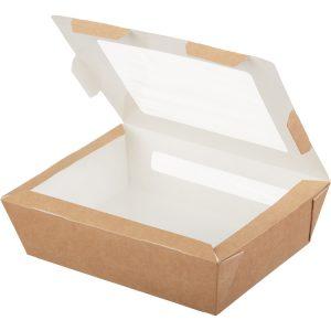 Papírdoboz ablakkal ECO SALAD 1000 190x150x50mm 1000ml, kraft (200 db/csomag)