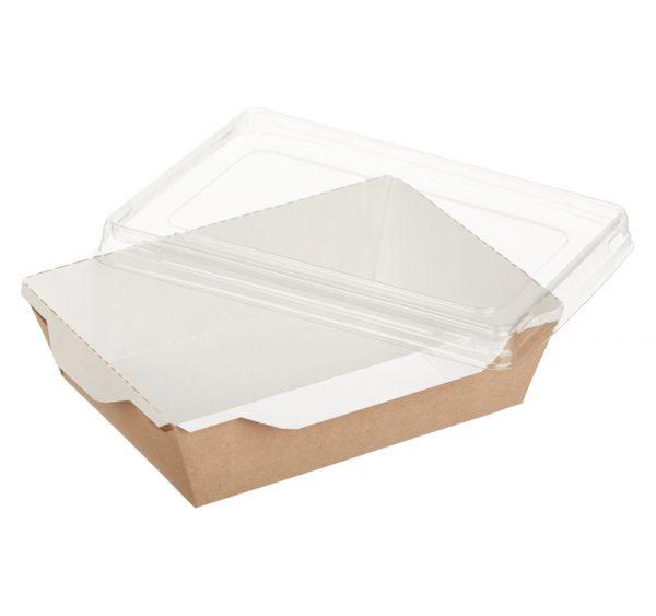 Papírdoboz salátához és forró ételekhez átlátszó fedéllel ECO OpSalad 160х120х45 mm 500 ml, kraft (300 db/csomag)