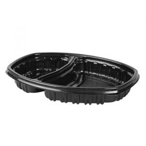 Doboz PP nagytételben 257х202mm h-37mm 450/900ml 2 részes,  téglalap alakú, fekete (70 db/csomag)