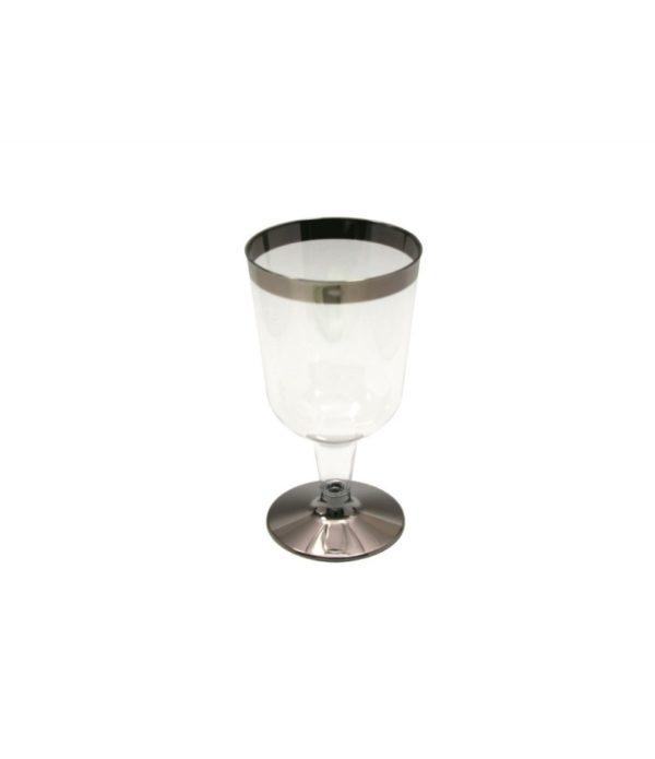 Borospohár Tambien 180 ml átlátszó ezüst csíkos, 6 db/csomag