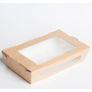 Papírdoboz ablakos ECO SALAD 600 150x115x50mm 600ml, kraft (350 db/csomag)
