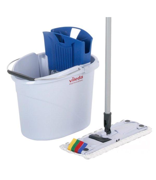 Felmosó készlet Vileda UltraSpeed Mini (Vödör 10l préssel/Felmosó 34cm/MOP MicroLite Mini/fogantyú) kék (001с/143566)