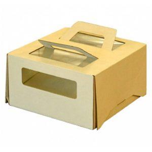 Tortadoboz 210х210х120 ablakos, fogantyúval 1 kg-ig, bézs színű (20 db/csomag)