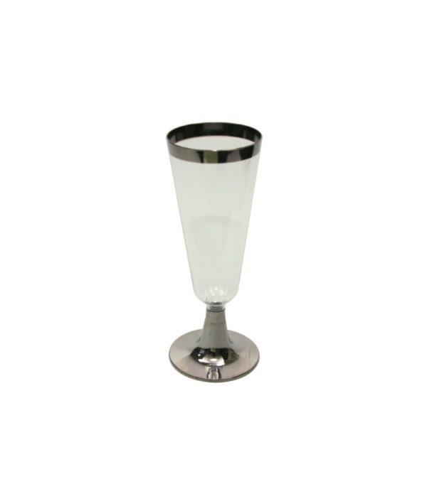 Pezsgőspohár Tambien 150 ml átlátszó ezüst csíkos (6 db/csomag)