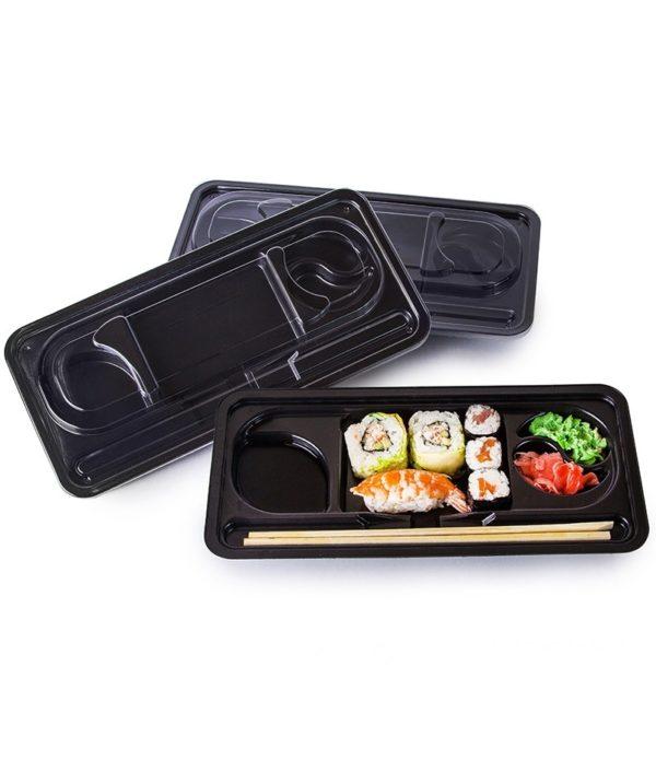 PS sushi doboz KD-001 275х121х43mm fekete (400 db/csomag)