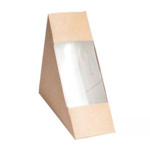 Papírdoboz szendvicshez ablakos ECO SANDWICH 60 130х130х60 mm, kraft (50 db/csomag)