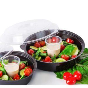 Salátás doboz PSKD-106 850ml fekete (400 db/csomag)