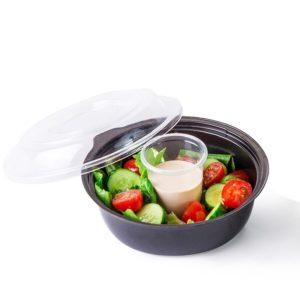 Salátás doboz PSKD-110 450ml fekete (400 db/csomag)