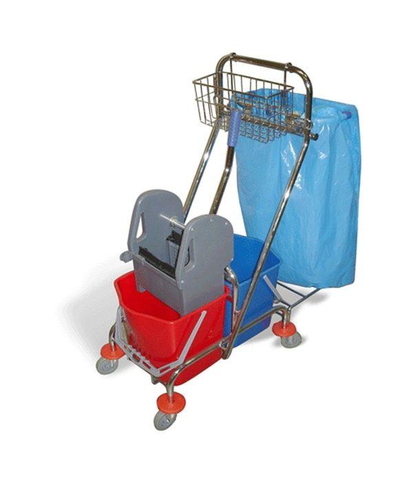 Kétvödrös takarítókocsi 2х15l mechanikus préssel és króm kosár táskatartóval