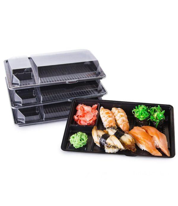 PS sushi doboz KD-011 201х125х36mm fekete (540 db/csomag)