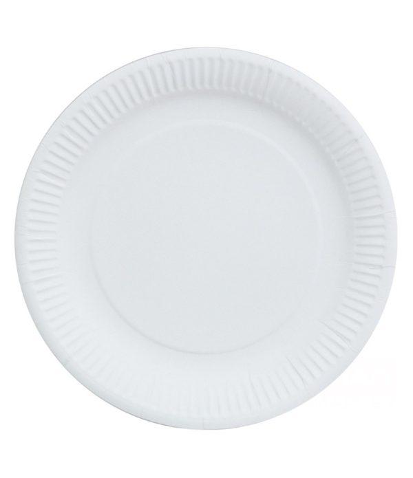 Tányér d=230mm fehér, élelmiszeripari lakk (100 db/csomag)