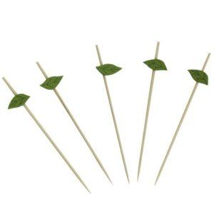 Zöld levél fapálcikás beszúró 12cm 100 db/csomag