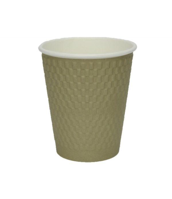 Pohár 300 ml papír d=90 mm 3 rétegű hullámos, aranysárga kraft (25 db/csomag)
