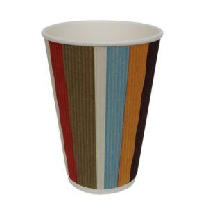Pohár 400 ml papír d=90 mm 3 rétegű hullámos, színes csíkos (25 db/csomag)