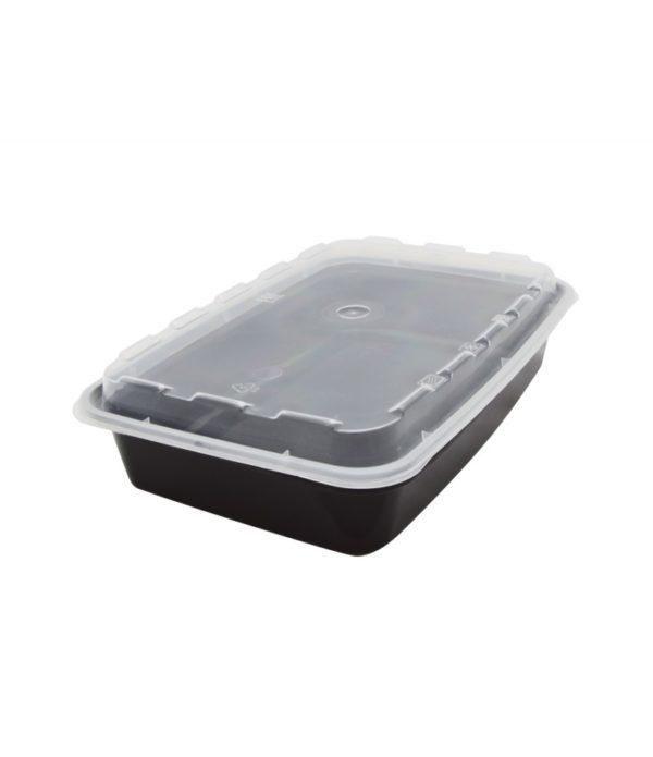 PP TaMbien doboz 206x140mm h=39mm 900ml fekete fedéllel (150 db/csomag)