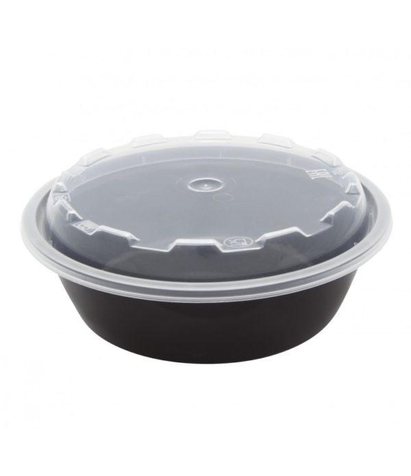 Doboz PP Tambien d=152mm h=48mm 530ml fekete fedéllel (150 db/csomag)