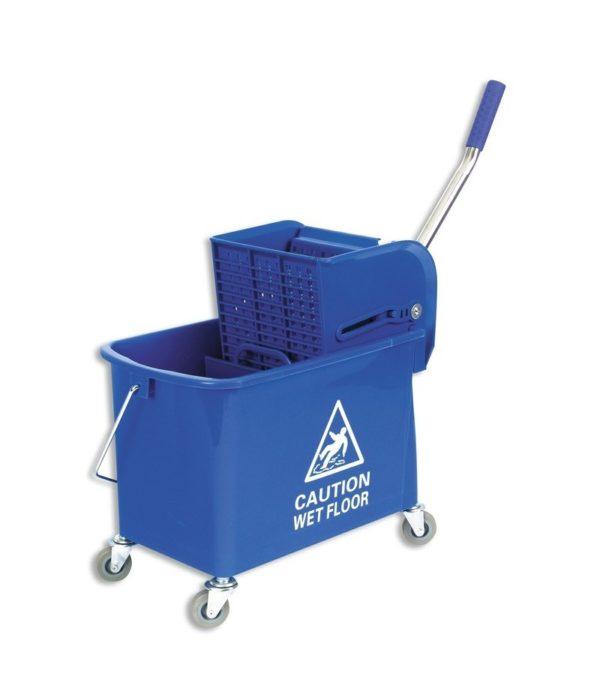 Műanyag vödör 20l mechanikus préssel, gurulós, kék