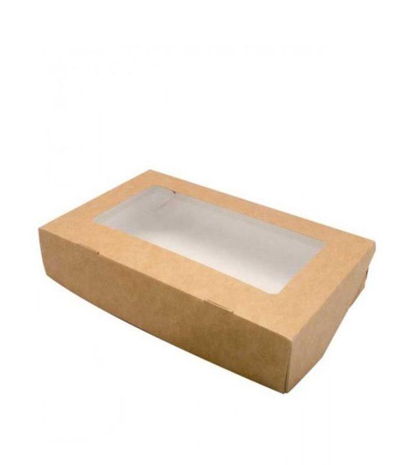 papír doboz ablakos ECO TABOX 1500 200x200x40 mm 1500 ml, kraft (50 db/csomag)