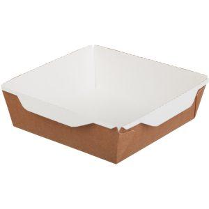 Papírdoboz átlátszó fedéllel salátához és meleg ételekhez ECO OpSalad 150x150x50mm 900 ml, kézműves (150 db/csomag)