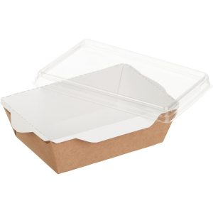 Papírdoboz átlátszó fedéllel salátához és meleg ételekhez ECO OpSalad 140x100x45 mm 400 ml, kézműves (400 db/csomag)