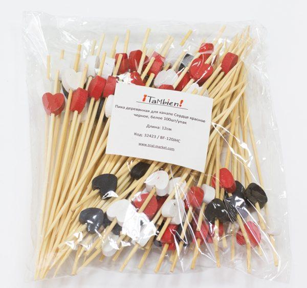 Fapálcika vörös, fehér, fekete Szív 12 cm 100db/csomag