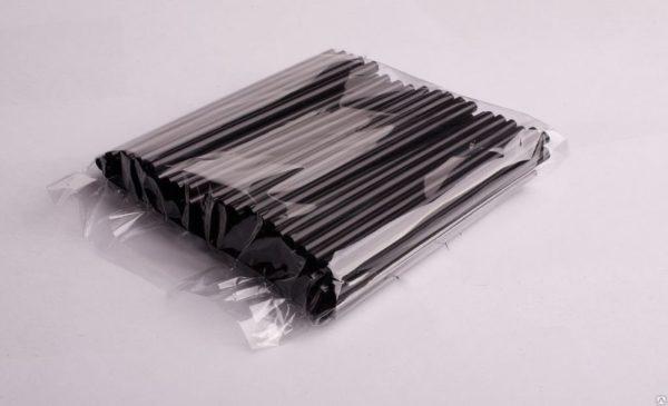 Koktél szívószál egyenes d=8mm l=210mm fekete 250db/csomag