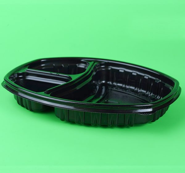 Téglalap alakú PP SP 257x202mm h-37mm 120/120 / 500ml 3 részes, fekete (70 db/csomag)
