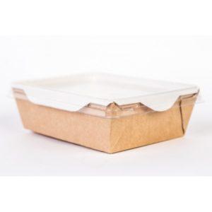 papír doboz átlátszó fedéllel salátához és meleg ételekhez ECO OpSalad 200x140x55mm 1000 ml, kézműves (150 db/csomag)