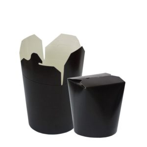 Papírtasak PKR 103x84x97.5 mm 500 ml, kerek alj, fekete (480 db/csomag)