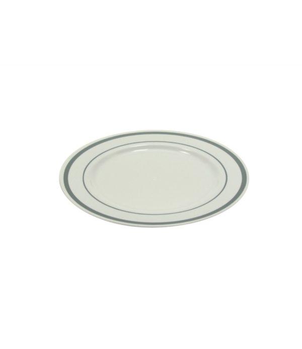 Tányér Tambien műanyag fehér ezüst csipkés d=190mm 10db/csomag