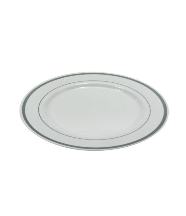 Tányér Tambien műanyag fehér ezüst csipkés d=230mm 10db/csomag