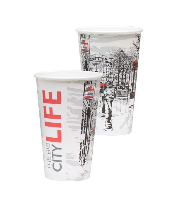 Pohár 400 ml papír d=90mm Big City Life forró italok számára (50 db/csomag)