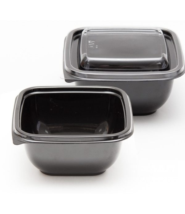 doboz PET 126х126х60 mm 500 ml, fekete (50 db/csomag)