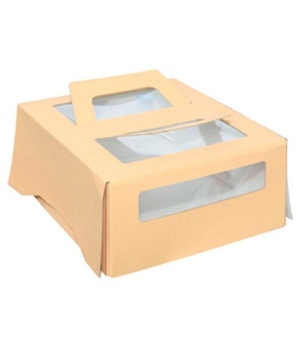 Tortadoboz 260х260х130 ablakos, fogantyúval 1;5 kg-ig, bézs színű (20 db/csomag)