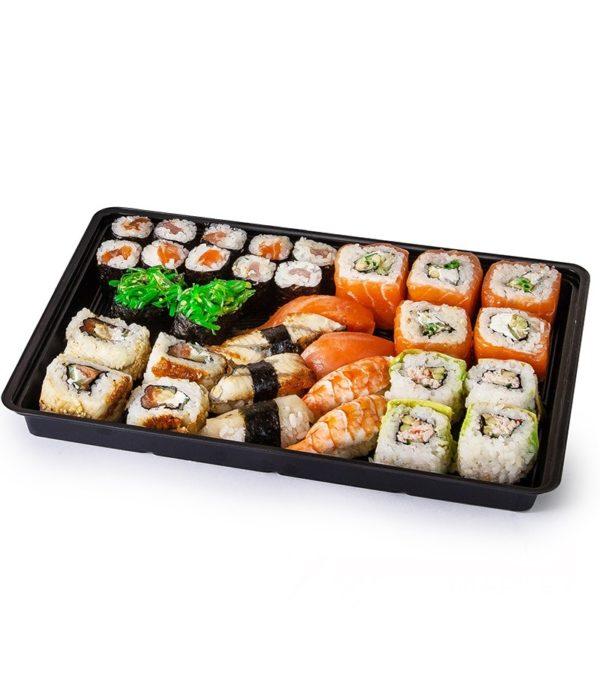 PS sushi doboz KD-004 295х205х43mm fekete (200 db/csomag)