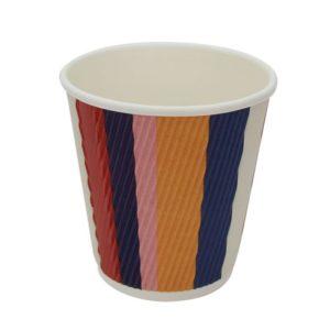 Pohár 250 ml papír d=80 mm 3 rétegű hullámos,színes csíkos (25 db/csomag)