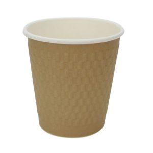 Pohár 250 ml papír d=80 mm 3 rétegű hullámos, aranysárga kraft (25 db/csomag)