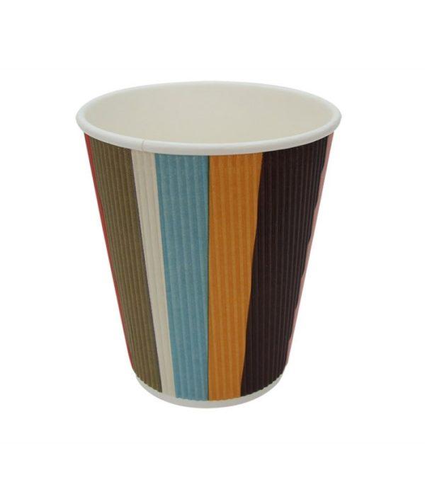 Pohár 300 ml papír d=90 mm 3 rétegű hullámos, színes csíkos (25 db/csomag)