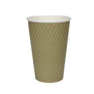 Pohár 400 ml papír d=90 mm 3 rétegű hullámos, aranysárga kraft (25 db/csomag)