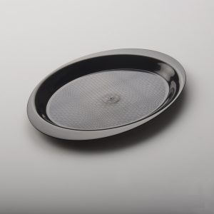 Ovális tálca 18.5 cm, PP, fekete Gold Plast (50 db/csomag)