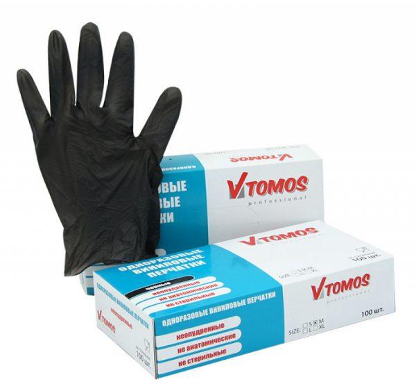Vinil kesztyű púdermentes ToMoS 100db/csomag M, fekete