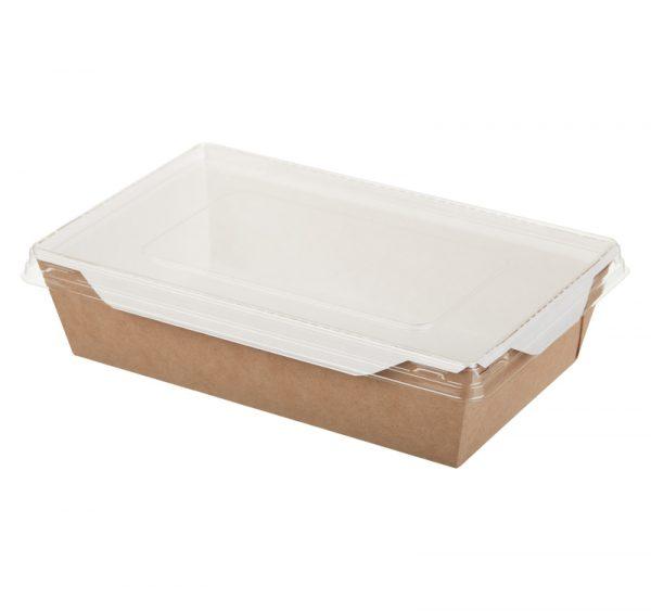 Papírdoboz salátához és forró ételekhez átlátszó fedéllel ECO OpSalad 186х106х55mm 800 ml, kraft (150 db/csomag)
