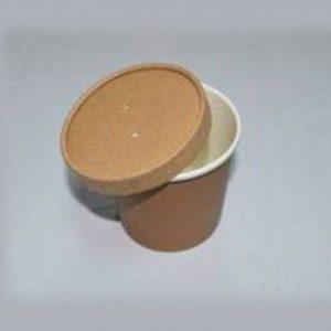 Leveses papírdoboz ECO SOUP d-75 mm, h-100 mm, 440 ml fedéllel, kraft (250 db/csomag)