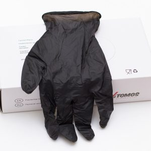Nitril kesztyű púdermentes ToMoS 100db/csomag M fekete/Nitril powder free gloves, M-méret, 100darab/csomag, fekete