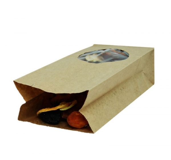 Papírzacskó kraft téglalap alakú alj 200х100х60 kör alakú ablakkal 7 (500 db/csomag)
