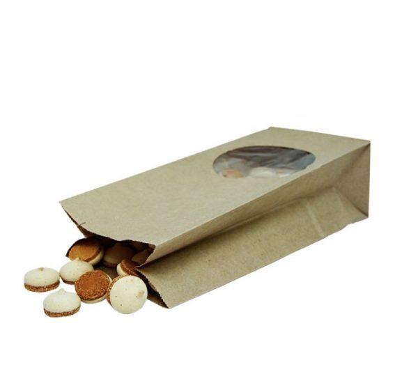 Papírzacskó kraft téglalap alakú alj 250х120х80 kör alakú ablakkal 9/Paper package rectangular bottom 250*120*80 with round window 9 (500 db/csomag)