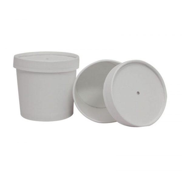 Leveses papírdoboz 345 ml d-95mm, h-82mm kettős fedéllel, fehér (336 db/csomag)