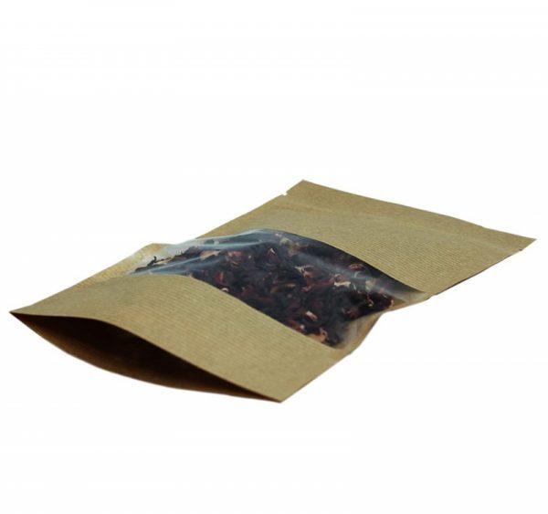 Papírzacskó kraft ziplockos 225х135х45 ablakkal  6.5 (500 db/csomag)