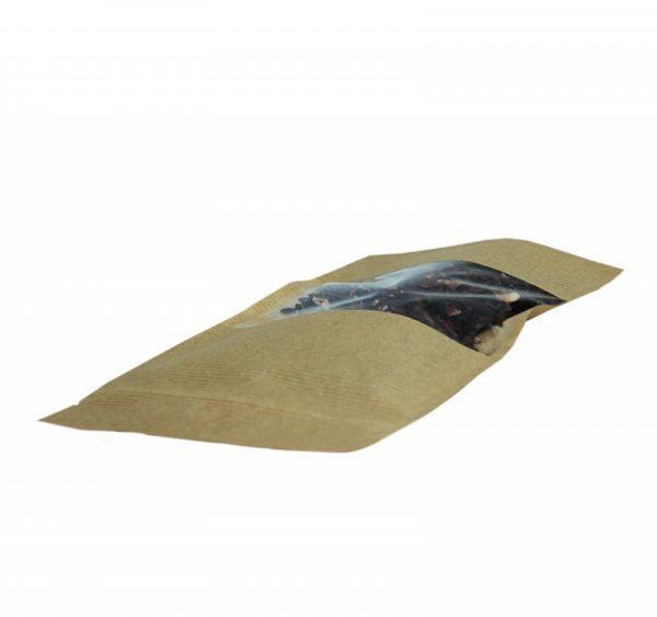 Papírzacskó kraft ziplockos 225х135х45 ablakkal  6.5 (50 db/csomag)